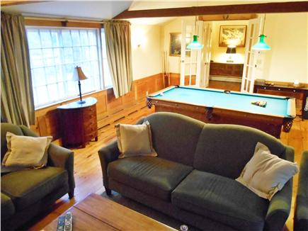 West Tisbury, North Tisbury Martha's Vineyard vacation rental - Great room with pool table and large brick wood burning fireplace