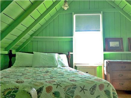 Oak Bluffs, Copeland Historic District Martha's Vineyard vacation rental - Green bedroom, staircase down to kitchen. Queen bed, Window AC.