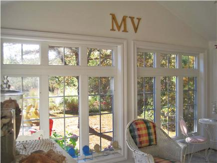 West Tisbury Martha's Vineyard vacation rental - View of  pretty back yard from Sunroom windows