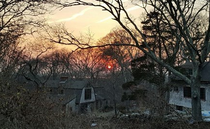 Chilmark Martha's Vineyard vacation rental - Deer Run in Winter with the Guest house above