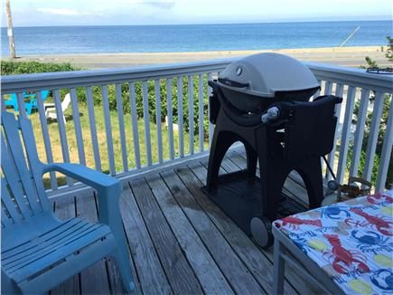 Oak Bluffs, Copeland district. In town by  Martha's Vineyard vacation rental - Grill deck with view of Chappy Island and a lighthouse.