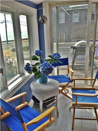 Oak Bluffs, Copeland district. In town by  Martha's Vineyard vacation rental - Inside porch to grill deck facing the Sound.