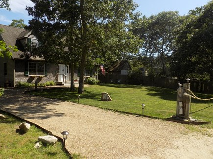 Edgartown Martha's Vineyard vacation rental - Driveway for two cars and a large lawn for games.