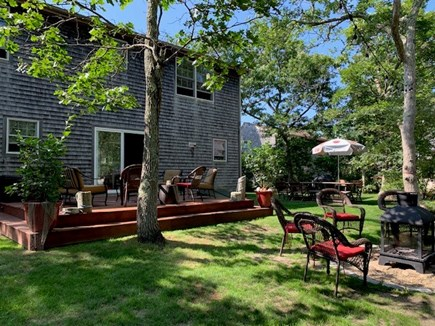 Edgartown Martha's Vineyard vacation rental - Large rear deck for entertaining and tables for outdoor dining.