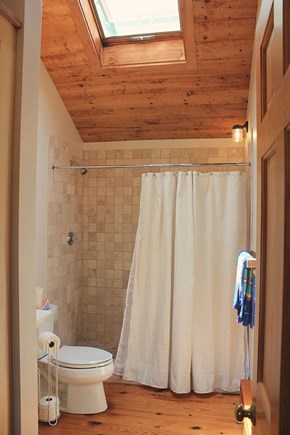 Chilmark Martha's Vineyard vacation rental - Cathedral-ceiling Master Bath w/skylight and linen/towel storage