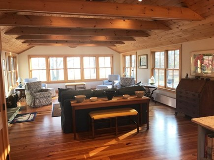 Chilmark Martha's Vineyard vacation rental - Waterview LR w/ raised-beam ceiling and two sitting areas.