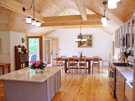 Chilmark Martha's Vineyard vacation rental - From kitchen to the DR with its deck & yard access and waterviews