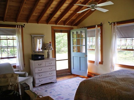 Chilmark Martha's Vineyard vacation rental - Waterview Queen BR has a sitting area and add'l side yard access.