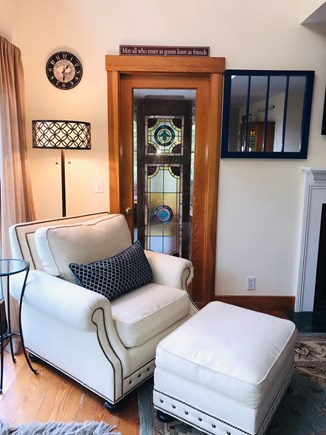 Oak Bluffs, East Chop Martha's Vineyard vacation rental - Cozy corner of living area with sunroom beyond for peace & quiet