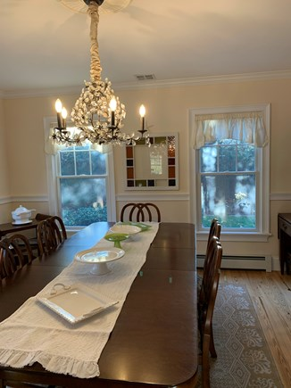 Oak Bluffs, East Chop Martha's Vineyard vacation rental - Dining room in the with glass chandelier; frenchdoors for privacy