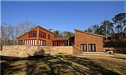 Oak Bluffs Martha's Vineyard vacation rental - View of pool/spa decks from driveway gate