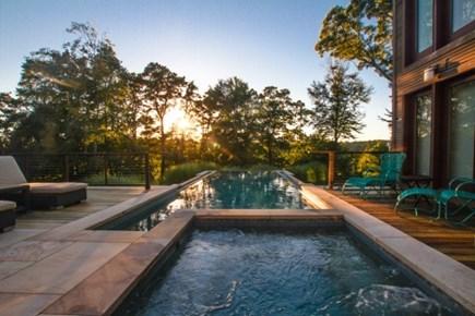Oak Bluffs, Barnes Road Martha's Vineyard vacation rental - Pool and Spa at sunset