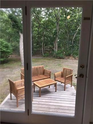 Oak Bluffs Martha's Vineyard vacation rental - Patio area off living room with teak furniture (has pillows)