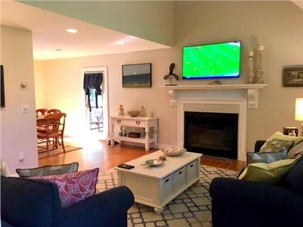 Edgartown Martha's Vineyard vacation rental - Living room with flat screen TV and fireplace