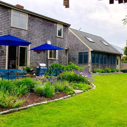 Katama - Edgartown, Edgartown- 1 miles to town  Martha's Vineyard vacation rental - Sunny Patio that opens to a big yard for games and fun.