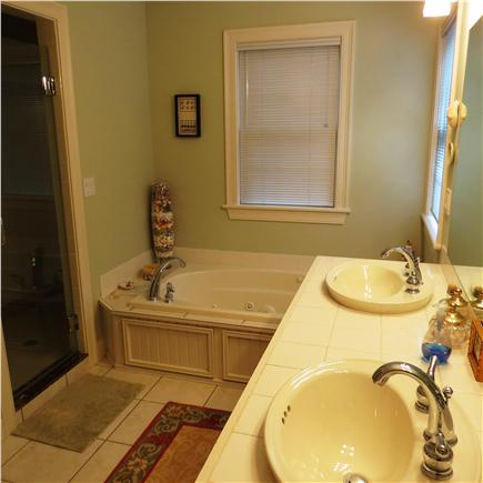 Edgartown Martha's Vineyard vacation rental - Master bath with shower and tub