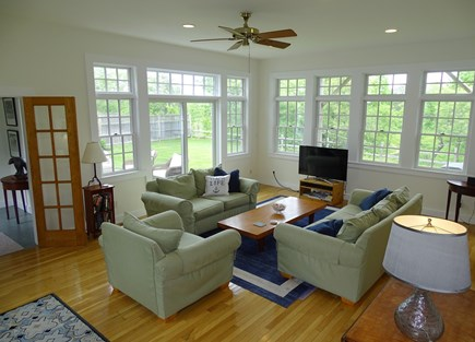 Edgartown Martha's Vineyard vacation rental - Spacious open, sunny living room, opens to patio