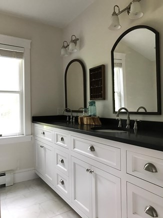 Oak Bluffs Martha's Vineyard vacation rental - Master bathroom with double vanity and granite counters.