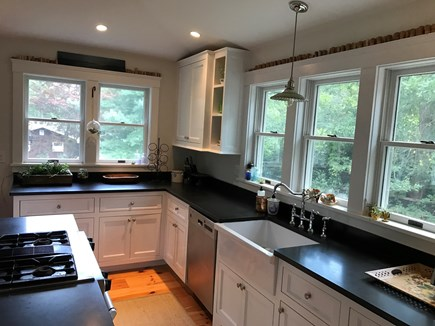 Oak Bluffs Martha's Vineyard vacation rental - Open kitchen with granite counter tops and farmhouse sink.