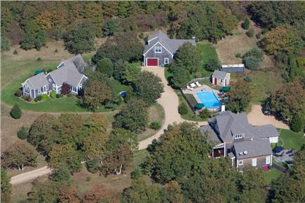 Edgartown Martha's Vineyard vacation rental - Arial view of property.  Main house in right foreground near pool
