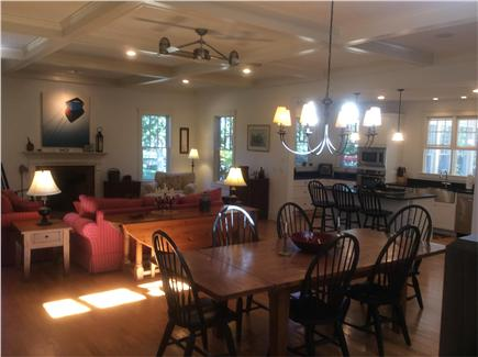 Edgartown Martha's Vineyard vacation rental - View of full living room, dining room and island kitchen
