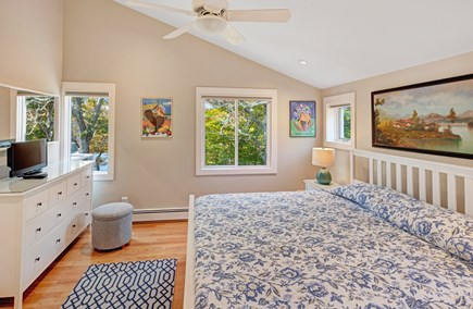 Lambert's Cove  West Tisbury Martha's Vineyard vacation rental - Guest House upstairs bedroom with king size bed