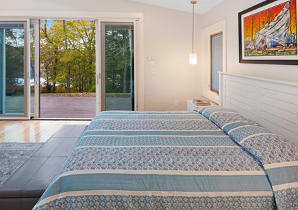 Lambert's Cove  West Tisbury Martha's Vineyard vacation rental - Guest house main bedroom with views of the pond