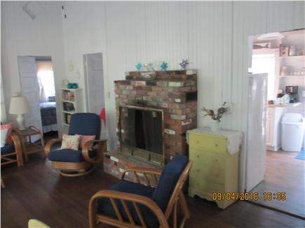 Oak Bluffs, East Chop Martha's Vineyard vacation rental - Original brick fireplace (non working) in sunny living room.