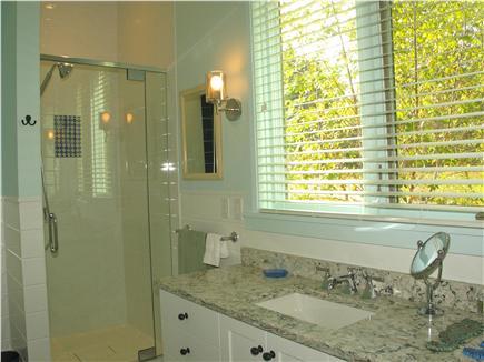 Edgartown, Katama Martha's Vineyard vacation rental - First floor master bath with glass shower and bath tub.