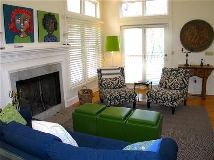 Vineyard Haven Martha's Vineyard vacation rental - Open living room with abundant natural light and access to deck