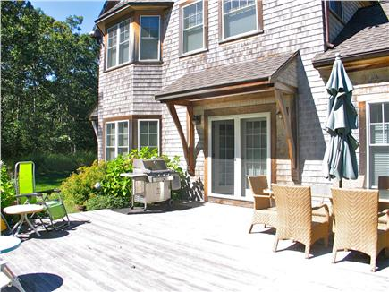 Vineyard Haven, Tisbury Martha's Vineyard vacation rental - Sunny back deck with gas grill and dining table