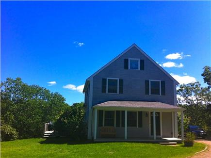 West Tisbury Martha's Vineyard vacation rental - View of the sunny front yard as you drive up to the house