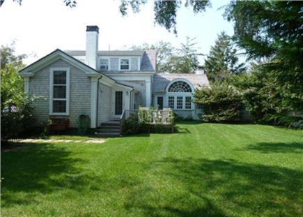 Edgartown Martha's Vineyard vacation rental - Enclosed, private back yard/deck w/cottage off Great Rm on right