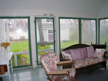 Oak Bluffs Martha's Vineyard vacation rental - Spacious screened porch with great view of a pretty back yard