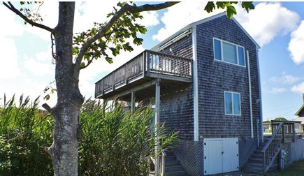 Oak Bluffs Martha's Vineyard vacation rental - Side view with elevated deck over looking Farm Pond