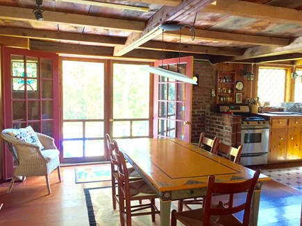 West Tisbury Martha's Vineyard vacation rental - Dining area sits six and the french doors open the deck and yard