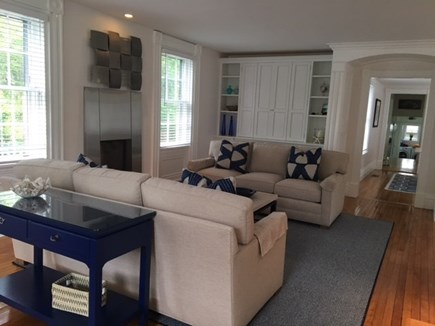 Vineyard Haven Martha's Vineyard vacation rental - Living room with modern gas fireplace