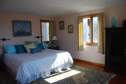 Chilmark Martha's Vineyard vacation rental - 1st Floor Bedroom View with King bed and full bath