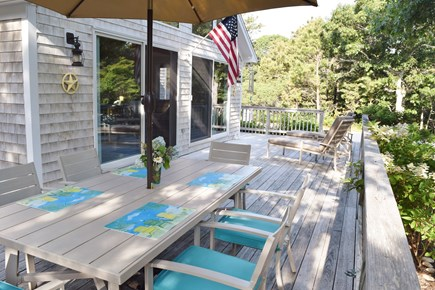 Katama - Edgartown, Katama Martha's Vineyard vacation rental - Large Wrap Around Deck For Easy Grilling, Connects To Great Room
