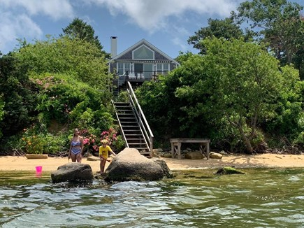 Oak Bluffs, Lagoon Pond Waterfront - salt Martha's Vineyard vacation rental - View from private beach