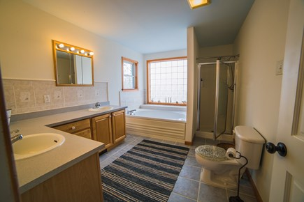 West Tisbury Martha's Vineyard vacation rental - Large master bath with jetted tub, shower, and double vanity