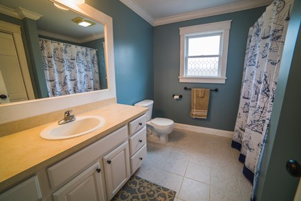West Tisbury Martha's Vineyard vacation rental - Upstairs hallway bathroom with tub/shower and large vanity