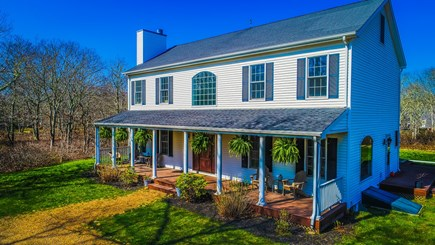 West Tisbury Martha's Vineyard vacation rental - Front of the house with breezy farmers porch & plenty of seating