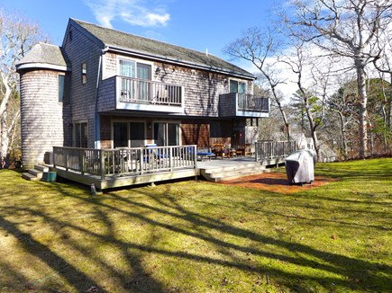 Edgartown Martha's Vineyard vacation rental - Large yard with expansive deck. Dining, lounging, and shower.