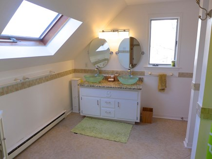 Edgartown Martha's Vineyard vacation rental - Upstairs bath with double vanity and sky lights