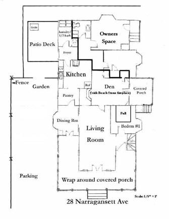 Oak Bluffs Martha's Vineyard vacation rental - First Floor Plan