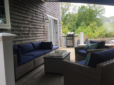 Oak Bluffs, East Chop Martha's Vineyard vacation rental - Cozy, private deck with comfortable seating & shade awning.