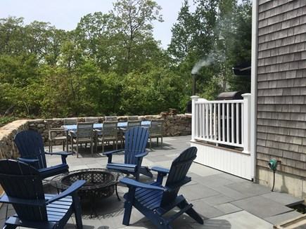 Oak Bluffs, East Chop Martha's Vineyard vacation rental - Patio with table for 10, fire pit & adirondack chairs!