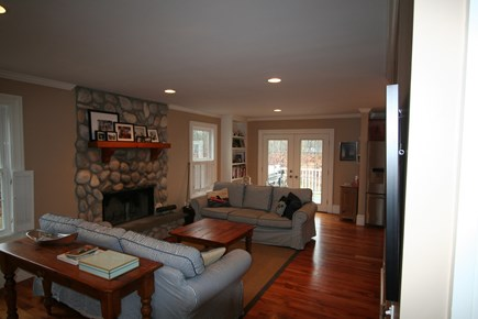 Oak Bluffs, East Chop Martha's Vineyard vacation rental - Open concept living room with large beach stone fireplace!