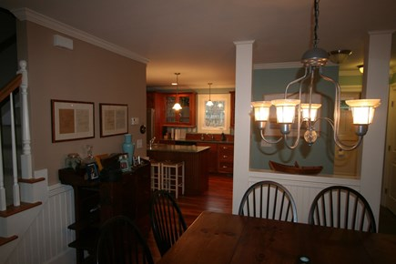 Oak Bluffs, East Chop Martha's Vineyard vacation rental - Custom dining table for 8, open to kitchen.
